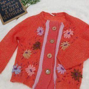 Free People crochet flower button down sweater